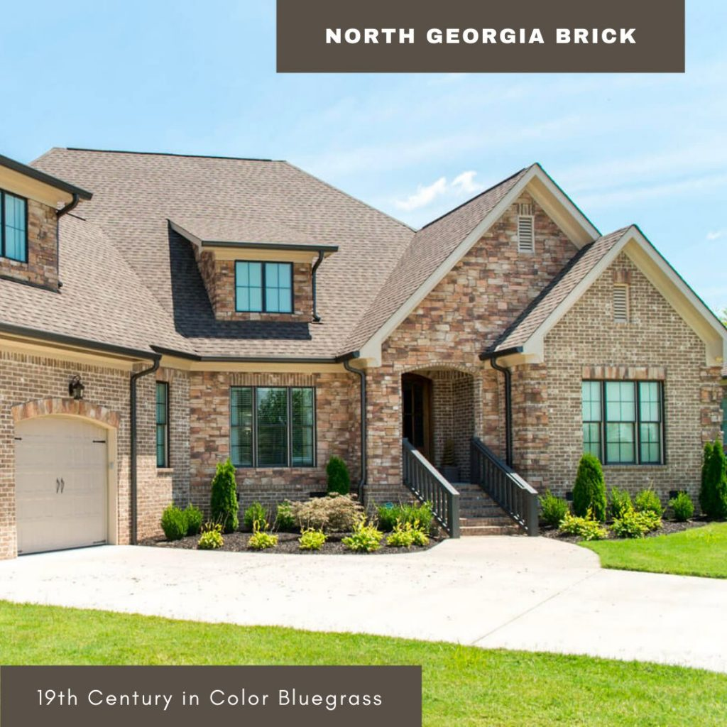 Gorgeous brick and stone home exterior with 19th Century brick in color Bluegrass